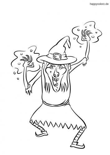 Hexe zaubert Malvorlage