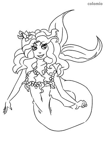 Lachende Meerjungfrau Ausmalbild