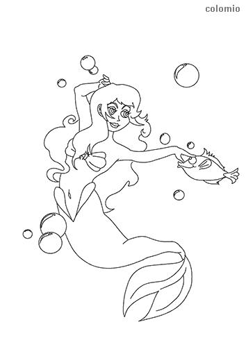 Hier findest du tolle Ausmalbilder von Meerjungfrauen.