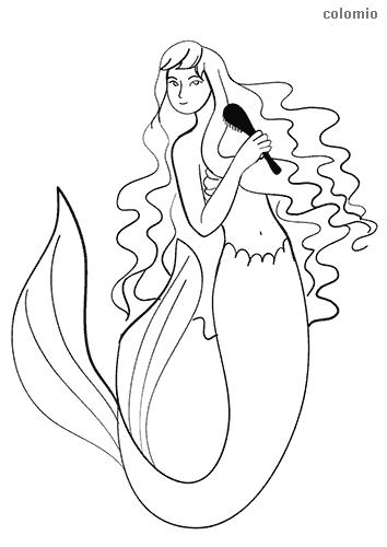 Meerjungfrau mit Kamm Ausmalbild