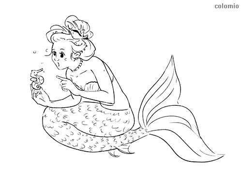 Meerjungfrau mit Seepferdchen Ausmalbild