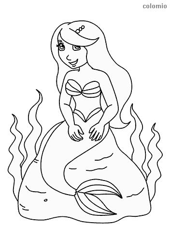 Meerjungfrau sitzt auf Stein Ausmalbild