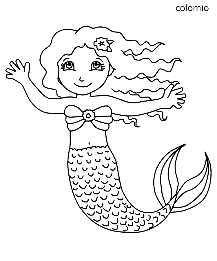 Winkende Meerjungfrau Ausmalbild