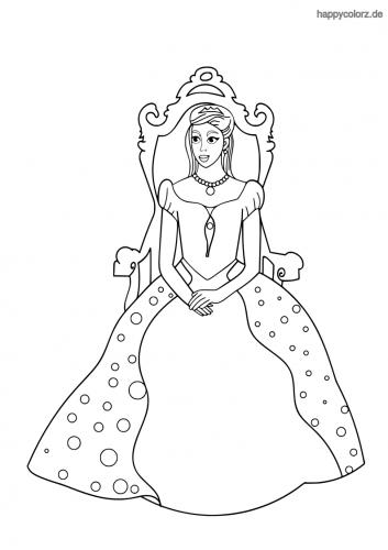Prinzessin auf dem Thron Ausmalbild