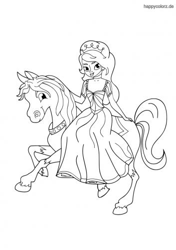 Prinzessin auf Pferd Ausmalbild