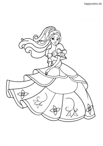Prinzessin mit Blumenkleid Malvorlage
