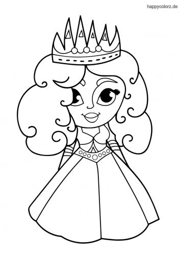 Prinzessin mit großer Krone Malvorlage