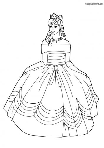 Prinzessin mit großer Schleife Ausmalbild