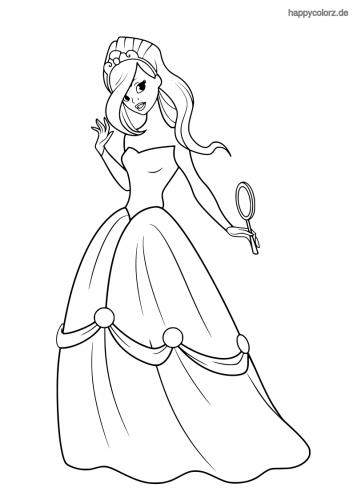 Prinzessin mit Handspiegel Ausmalbild