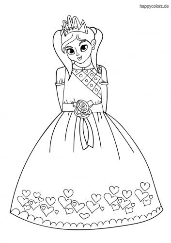 Prinzessin mit Herzkleid Malvorlage