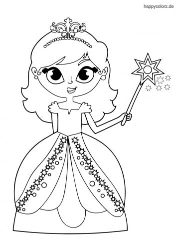 Prinzessin mit Krone und Zauberstab Ausmalbild