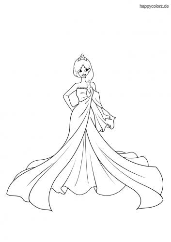 Prinzessin mit One-Shoulder Kleid Malvorlage