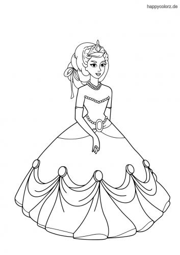 Prinzessin mit Perlenkette Ausmalbild