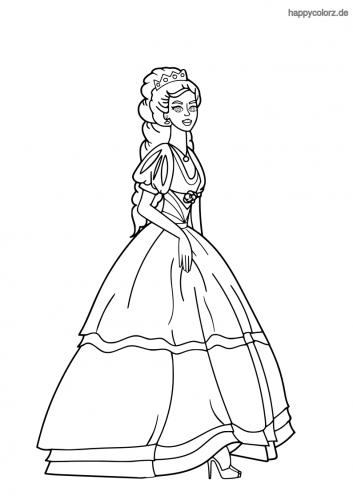 Prinzessin mit Puffärmelkleid Ausmalbild