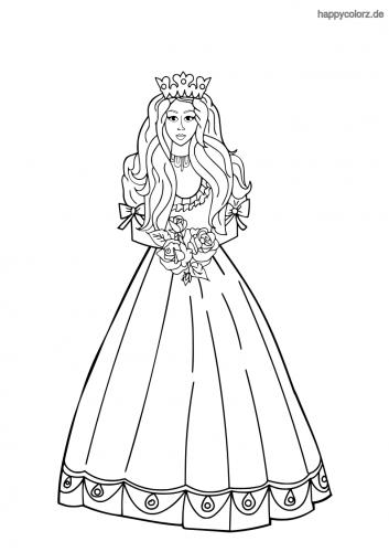Prinzessin mit Rosen Malvorlage