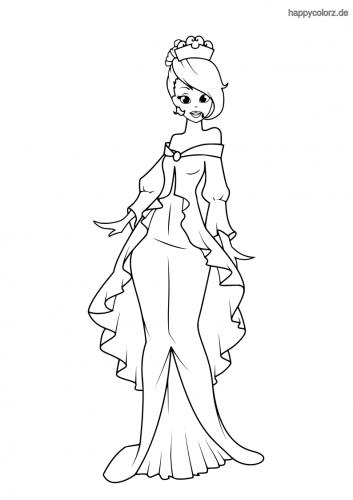 Prinzessin mit Rüschenkleid Ausmalbild