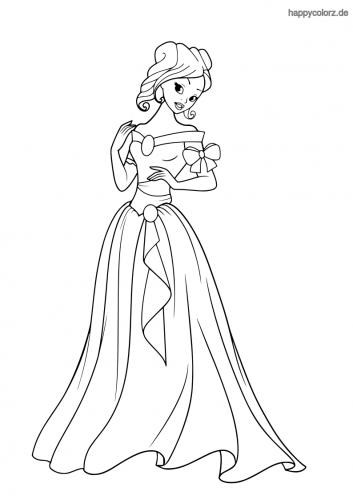 Prinzessin mit schulterfreiem Kleid und Schleife Malvorlage