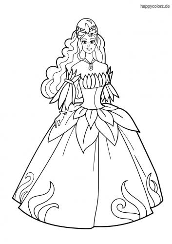 Prinzessin mit schulterfreiem Kleid Ausmalbild