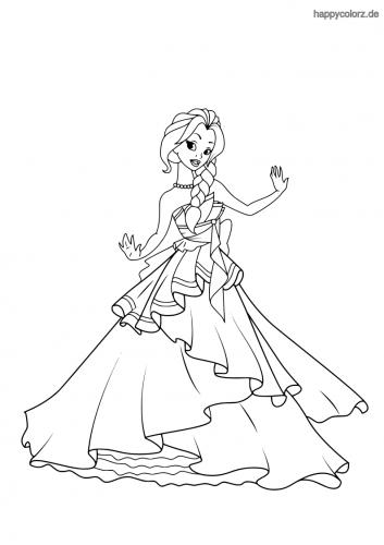 Prinzessin mit schulterfreiem Rüschenkleid Ausmalbild