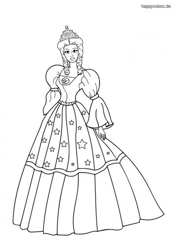 Prinzessin mit Sternenkleid und Puffärmeln Ausmalbild