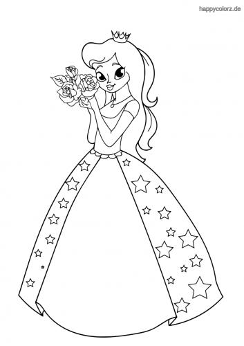 Prinzessin mit Sternenkleid und Rosen Malvorlage