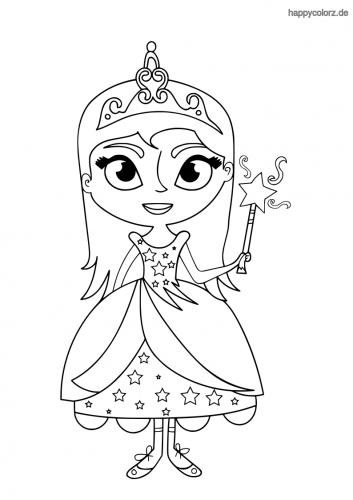Prinzessin mit Zauberstab Ausmalbild