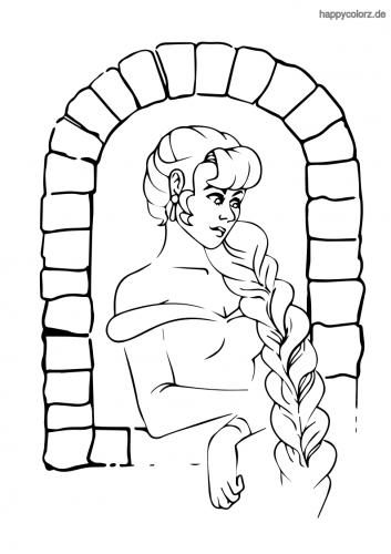 Rapunzel am Fenster Malvorlage