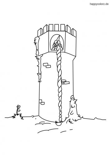 Rapunzel im Turm Ausmalbild