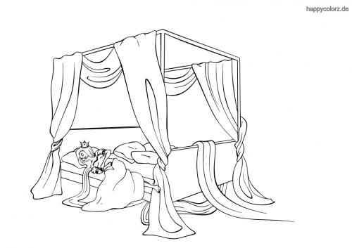 Rapunzel schlafend im Bett Malvorlage