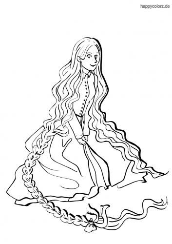 Sitzende Rapunzel Malvorlage