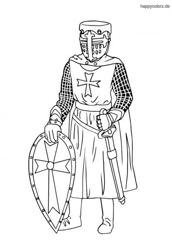 Kreuzritter mit Schild und Schwert Ausmalbild
