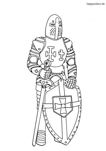 Kreuzritter mit Schild Ausmalbild