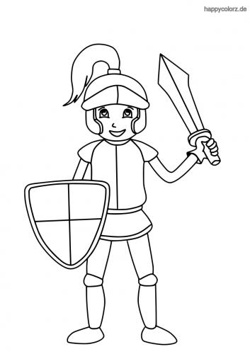 Lachender Ritter mit Schild und Schwert Ausmalbild
