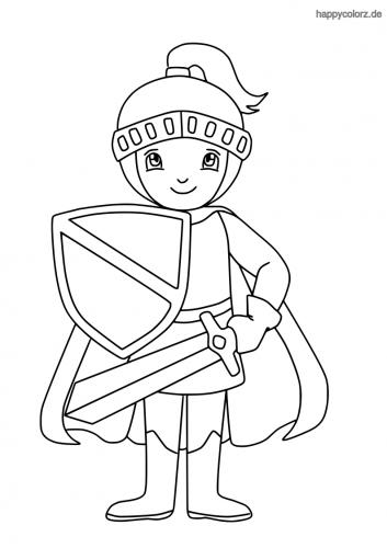 Ritter mit Schwert Umhang und Schild Ausmalbild