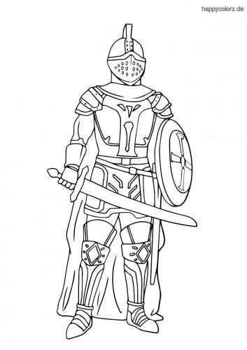 Ritter mit Schwert und Schild Ausmalbild