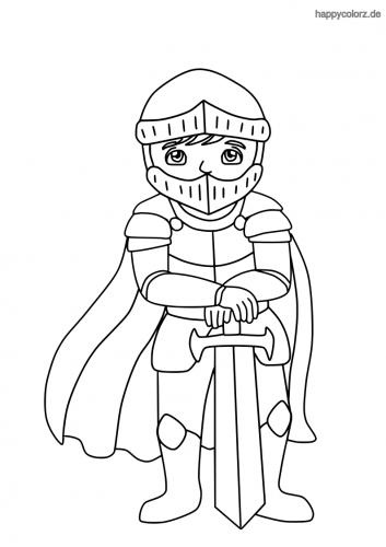 Ritter mit Schwert und Umhang Ausmalbild