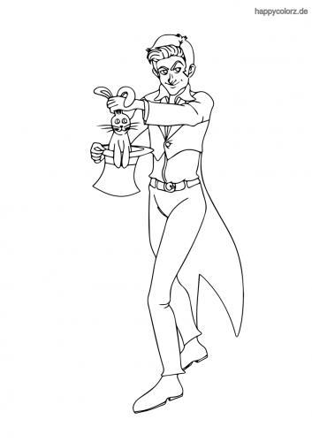 Zauberer mit Hase Malvorlage
