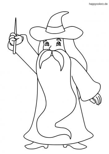 Zauberer mit langem Bart Malvorlage