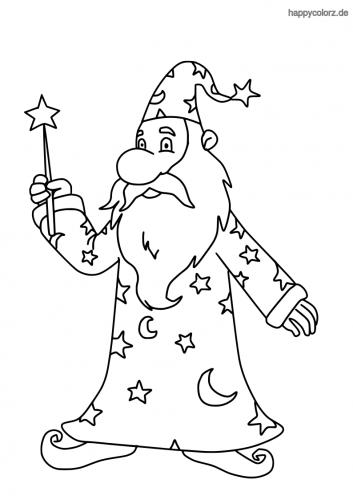 Zauberer mit Zauberstab und Bart Malvorlage