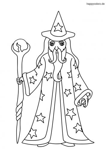Zauberer mit Zauberstab und Glaskugel Ausmalbild