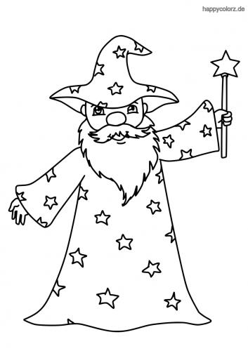 Zauberer mit Zauberstab Malvorlage
