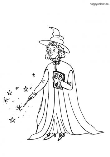 Zauberin mit Zauberstab und Buch Ausmalbild