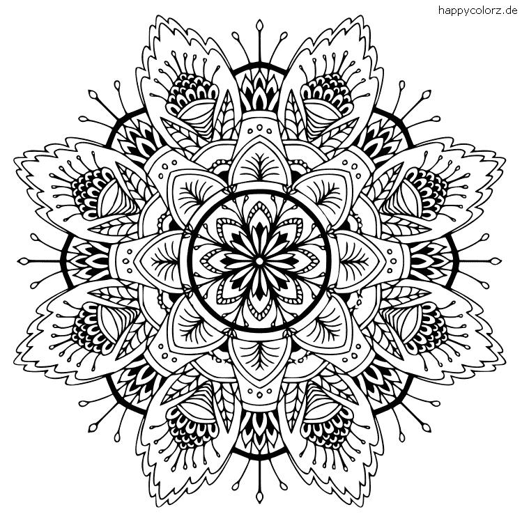 Blumenmandala zum ausmalen