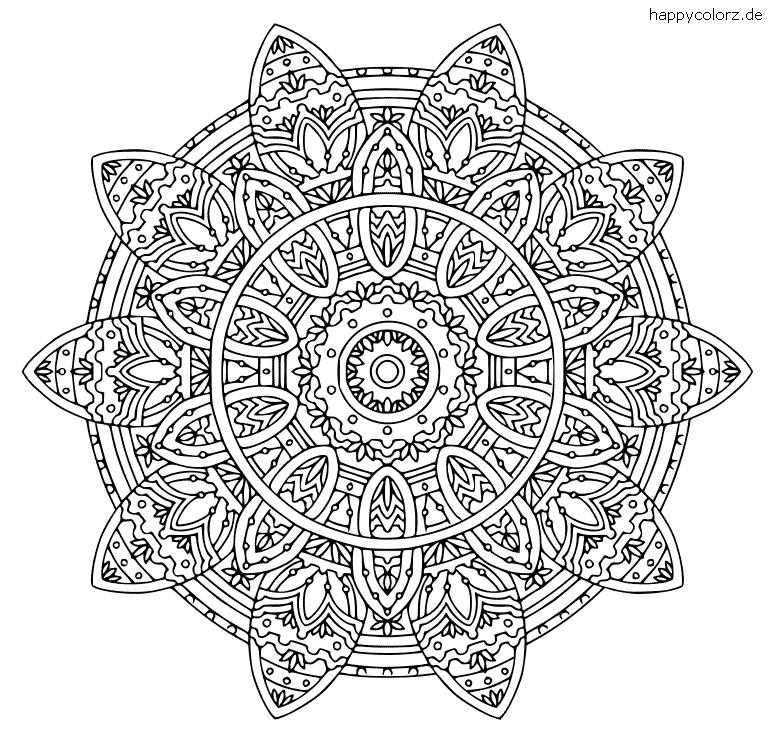 Komplexes Mandala Ausmalbild