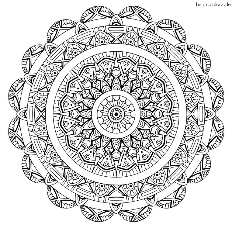 Mandala Art déco zum ausdrucken