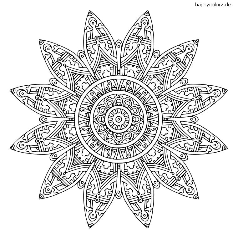 Mandala Inkastil Ausmalbild