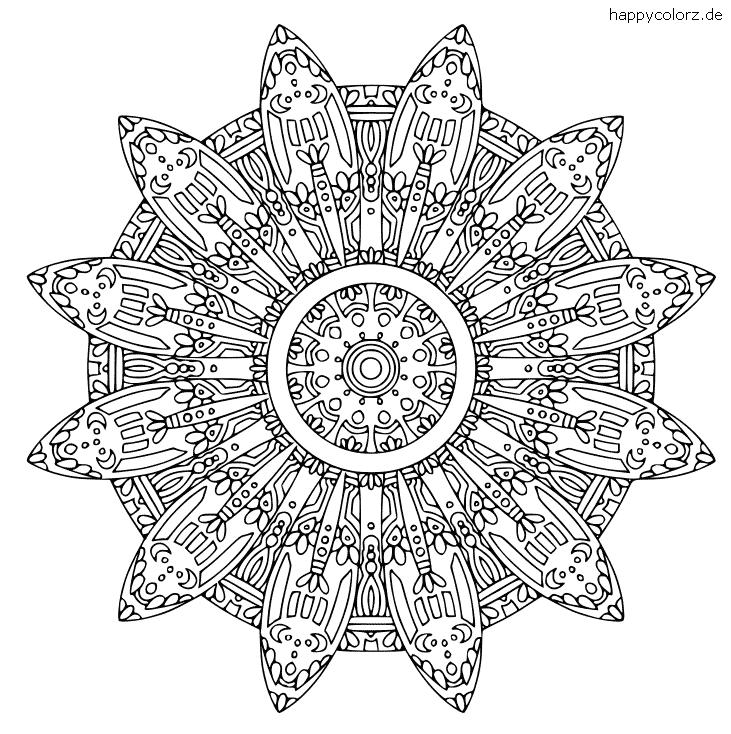 Mandala mit kleinen Monden Ausmalbild