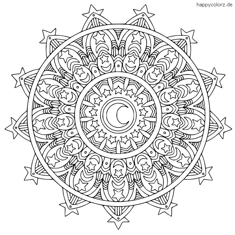 Mandala mit Mond und Sternen Vorlage