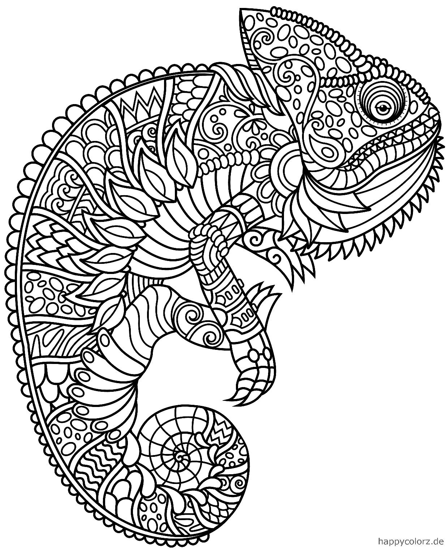 Mandala Chamäleon Ausmalbild