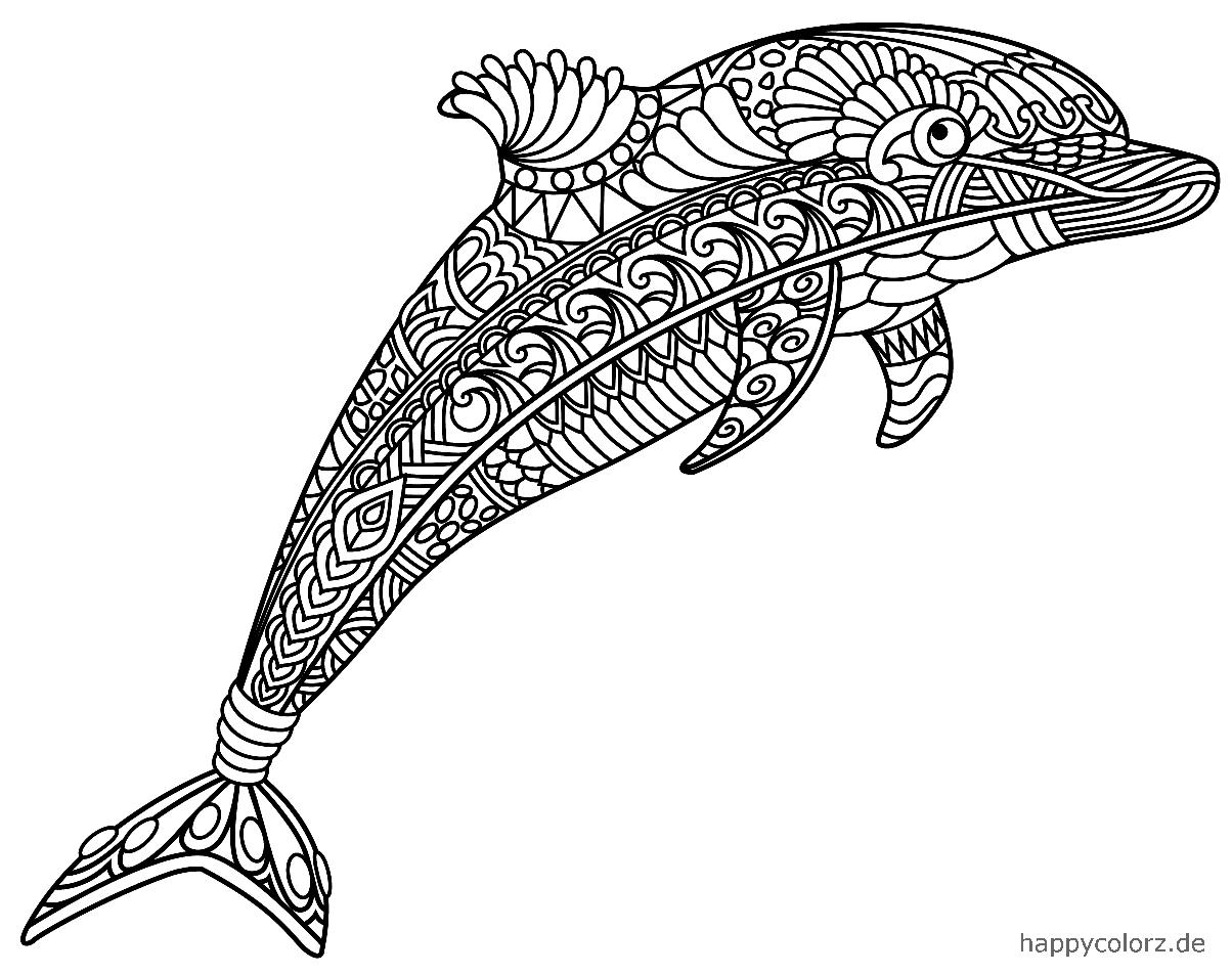 Mandala Delfin zum ausdrucken